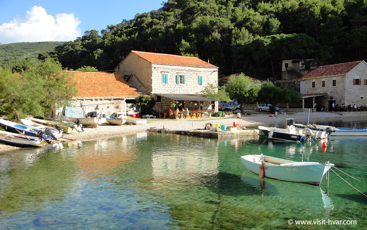 Bay Vela Stiniva near village Zastražišće on the island Hvar, Dalmatia, Croatia