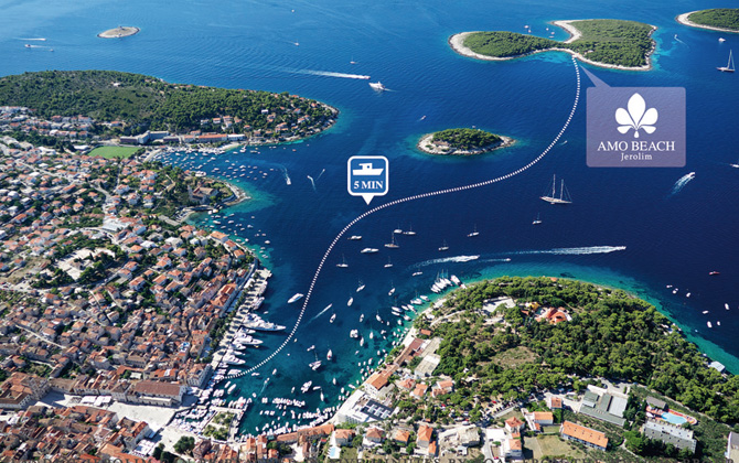 Amo Beach is only 5 minutes away from Hvar with a taxi boat