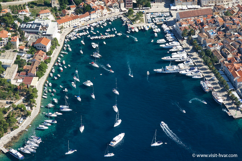 The harbour of Hvar is certainly the most popular anchorage on the island of Hvar.