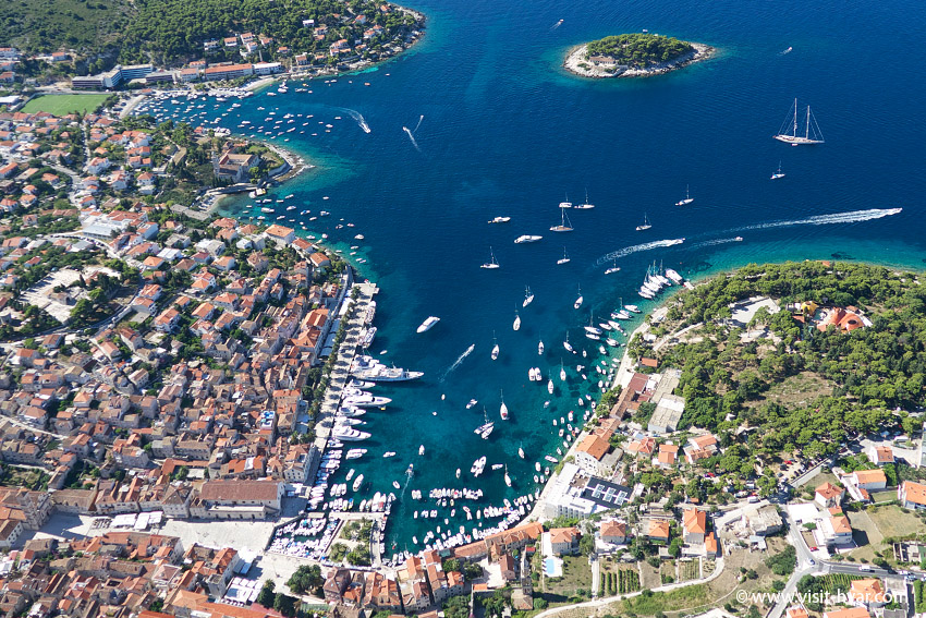 Panoramic view of hvar harbour.