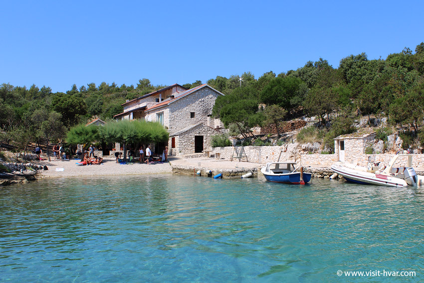"Tavern ""Kod Ive"" Island of Šćedro - You can enjoy in the shade of restaurants terrace directly on the beach."