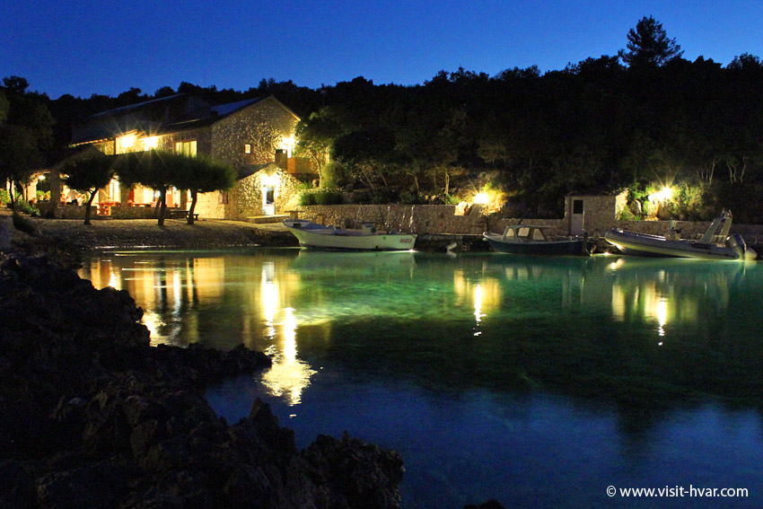 "Tavern ""Kod Ive"" Island of Šćedro - A unique experience of this cove is underwater light powered by solar electricity."